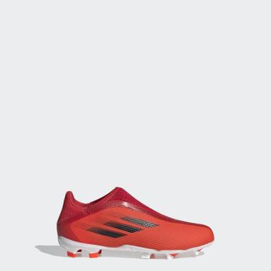 Calzado de Fútbol X Speedflow.3 Sin Cordones Terreno Firme Rojo Niño Fútbol