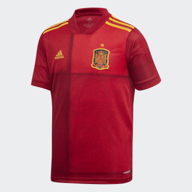 Conjunto primera equipación España Rojo Niño Fútbol