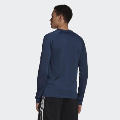 Men's Training Blue Aeroknit Designed 2 Move Sport Seamless Long Sleeve Tee