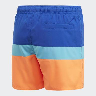 Children Swimming Blue Colorblock Swim Shorts