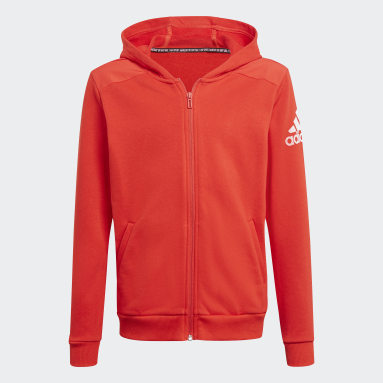 Boys Training Red Logo Full-Zip Hoodie