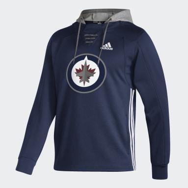 Men Hockey Blue Jets Skate Lace Hoodie