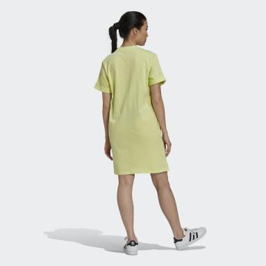 Women Originals Yellow Adicolor Classics Roll-Up Sleeve Tee Dress