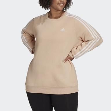 Women's Essentials Pink Essentials 3-Stripes Fleece Sweatshirt (Plus Size)