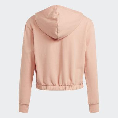 Girls Gym & Träning Rosa Warm-Up Dance Move Comfort Zip Side Slits Cotton Loose Hoodie