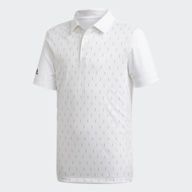 Boys Golf White Graphic Print Polo Shirt