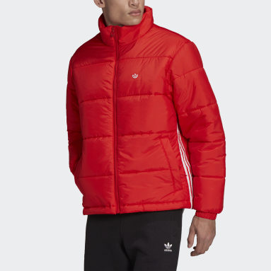 Men Originals Red Padded Stand-Up Collar Puffer Jacket