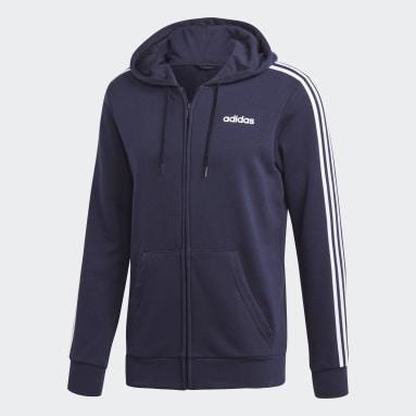 Erkek Sport Inspired Mavi Essentials 3 Bantlı Kapüşonlu Üst
