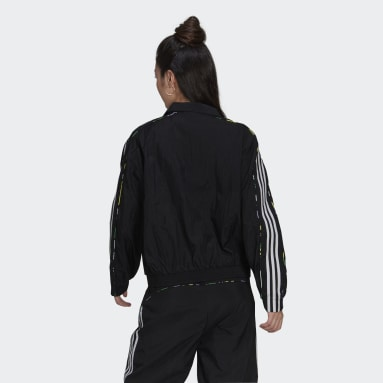 Track jacket Floral Piping Woven Nero Donna Originals