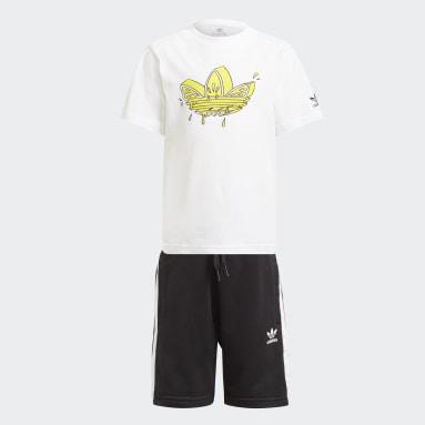 เด็ก Originals สีขาว ชุดเสื้อยืดและกางเกงขาสั้นพิมพ์ลาย Trefoil