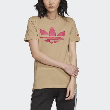 T-shirt Adicolor Shattered Trefoil Beige Femmes Originals