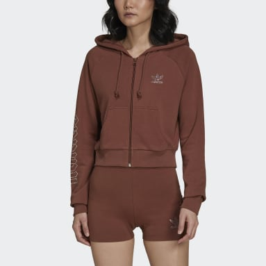 Women's Originals Brown adidas 2000 Luxe Cropped Track Top