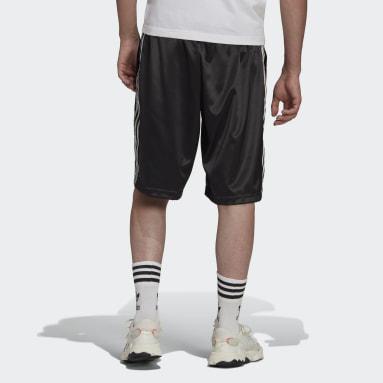 Shorts Adicolor Classics 3 Franjas Satén Negro Hombre Originals