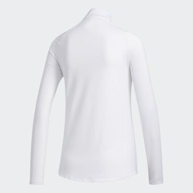 Women's Golf White Solid UV Long Sleeve Polo Shirt