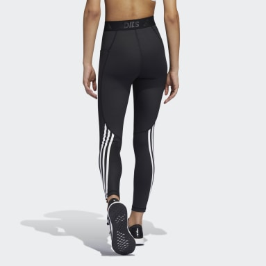Tight lunghi Techfit 3-Stripes Gym Nero Donna Running