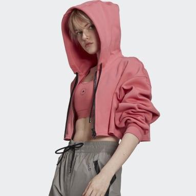 Felpa con cappuccio adidas by Stella McCartney SC Cropped Full Zip Rosa Donna adidas by Stella McCartney