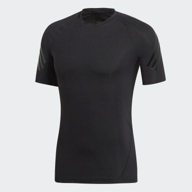 Muži Trailový Běh černá Tričko Alphaskin Tech 3-Stripes