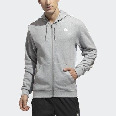 Men Sportswear Grey Must Haves 3-Stripes Full-Zip Hoodie