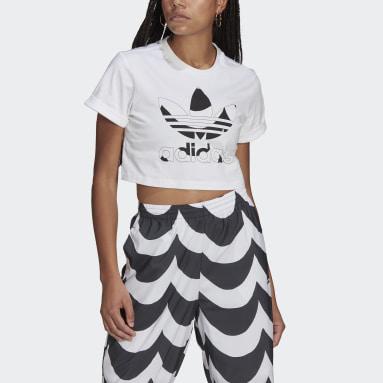 Kvinder Originals Hvid Marimekko Trefoil Infill Cropped T-shirt