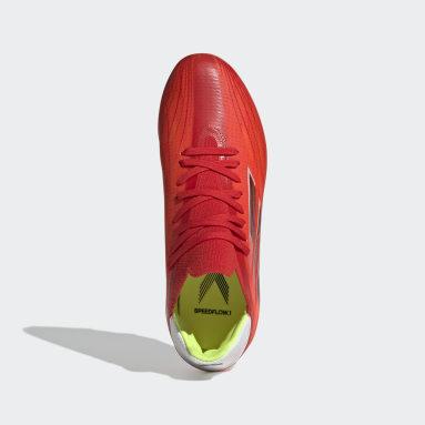 Bota de fútbol X Speedflow.1 césped natural seco Rojo Niño Fútbol