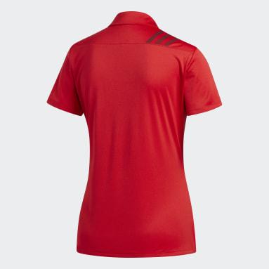 Women Golf Red 3-Stripes Shoulder Sport Shirt