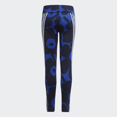 Girls Gym & Training Blue Marimekko Primegreen AEROREADY Training 3-Stripes Floral Tights