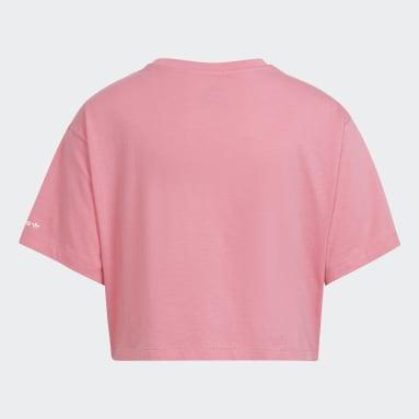 Camiseta Cropped Adicolor Rosa Meninas Originals