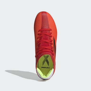 Bota de fútbol X Speedflow.3 césped natural seco Rojo Niño Fútbol