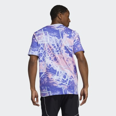 T-shirt Throwback Allover Print Violet Hommes Basketball