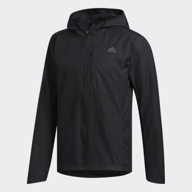 Men Running Black Own the Run Hooded Wind Jacket