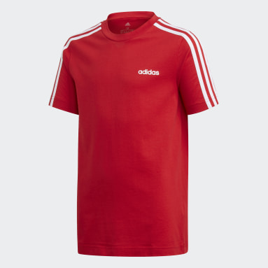 Camiseta Essentials 3 bandas Rojo Niño Sportswear