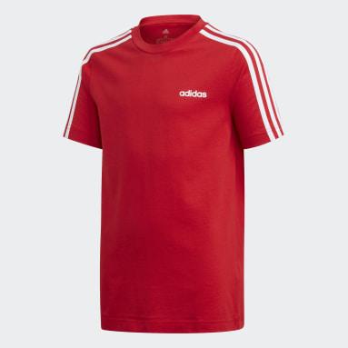 Jungen Sportswear Essentials 3-Streifen T-Shirt Rot
