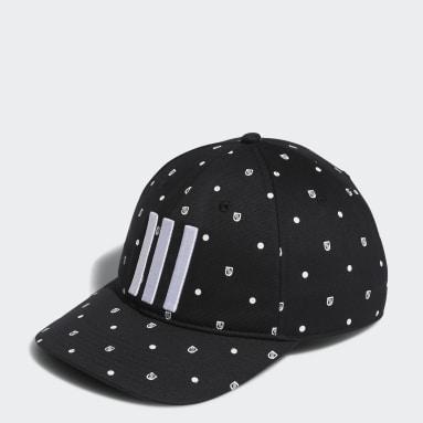 Men Golf Black Allover Print Shield Cap