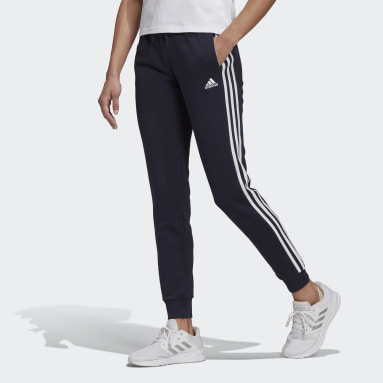 Women's Essentials Blue Essentials French Terry 3-Stripes Pants