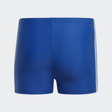 Men Swim Blue 3-Stripes Swim Boxers