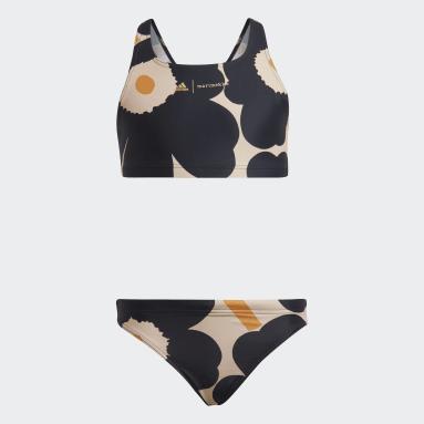 Girls Svømning Sort Marimekko Unikko bikini