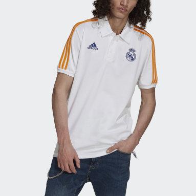 Men Football White Real Madrid 3-Stripes Polo Shirt