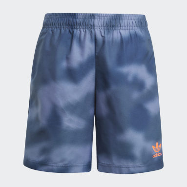 Youth 8-16 Years Originals Blue Allover Print Camo Swim Shorts