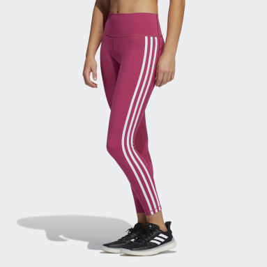 Women's Yoga Pink Believe This 2.0 3-Stripes 7/8 Tights