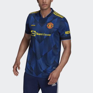 Heren Voetbal Blauw Manchester United 21/22 Authentiek Derde Shirt