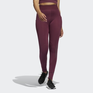 Mallas largas Techfit COLD.RDY Burgundy Mujer Running