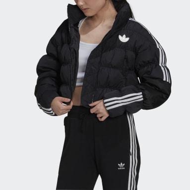 Women Originals Black Short Synthetic Down Puffer Jacket