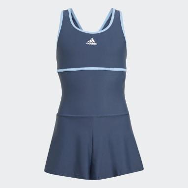 Girls Swim Blue Swim Dress with Inner Mesh Bra