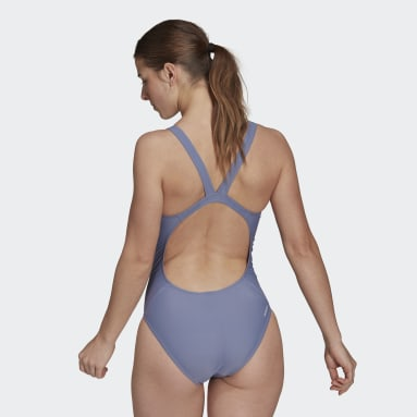 adidas SH3.RO Mid 3-Stripes Swimsuit Fioletowy