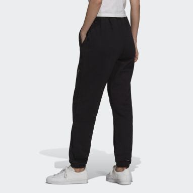 Women Originals Black Cuffed Sweat Pants with Trefoil Graphic