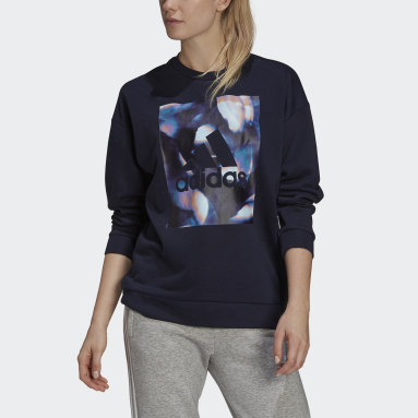 Women's Essentials Blue adidas x Zoe Saldana Soft Knit Sweatshirt