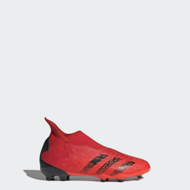 Kids Football Red Predator Freak.3 Laceless Firm Ground Boots