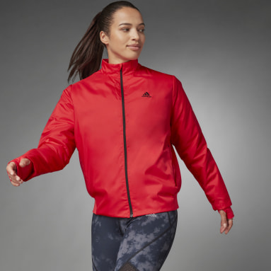 Women Running Red Thermal Woven Jacket
