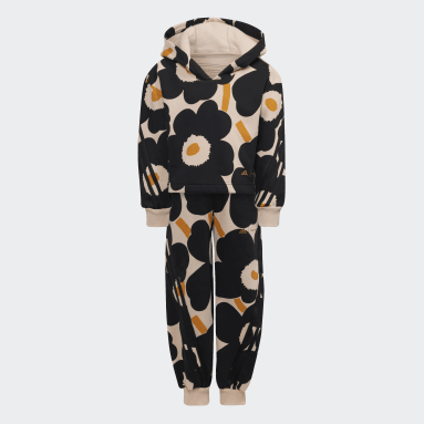 Marimekko Primegreen Warm-Up Winter Fleece 3-Stripes Floral Hettegenser og Bukse Rosa