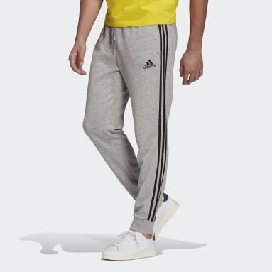 Pantalon Essentials French Terry Tapered Cuff 3-Stripes Gris Hommes Sportswear